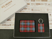 BEN SHERMAN Card Holder + Key Fob Set Tartan Black Leather 2in1 Wallet Gift Box