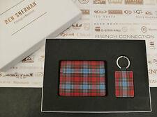 BEN SHERMAN Card Holder + Key Fob Gift Set Tartan Black Leather 2in1 Wallet Box