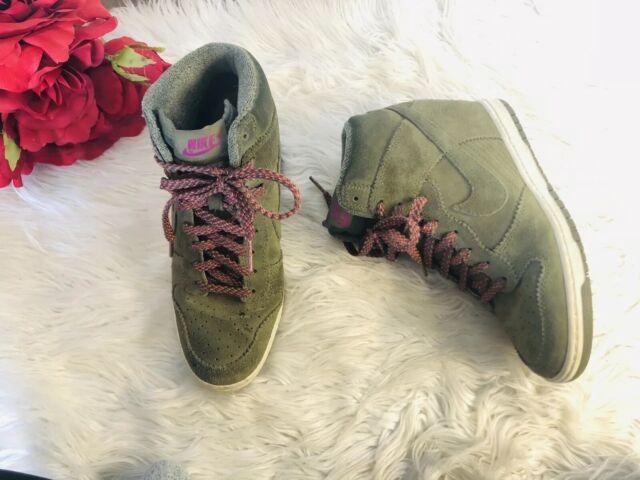 on sale 8262c e4974 Nike Dunk Sky Hi Essential High-Heeled Wedge Sneakers, Size 8, Olive Green