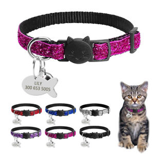 Personalised-Bling-Sequins-Breakaway-Cat-Collars-Dog-Tags-for-Puppy-Kitten