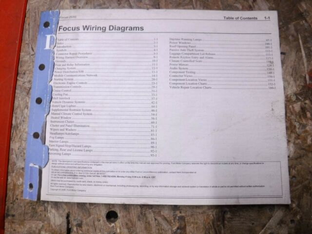 2010 Ford Focus Original Factory Wiring Diagrams Manual