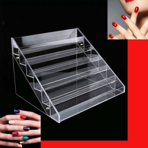 6Tier Acrylic Strong Nail Polish Varnish Bottle Retail Display Stand Holder Case