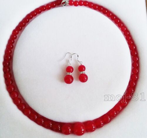 6-14 mm Naturel Rouge Jade Ronde Pierres Précieuses Perles Collier Boucle d/'oreille Bijoux Set