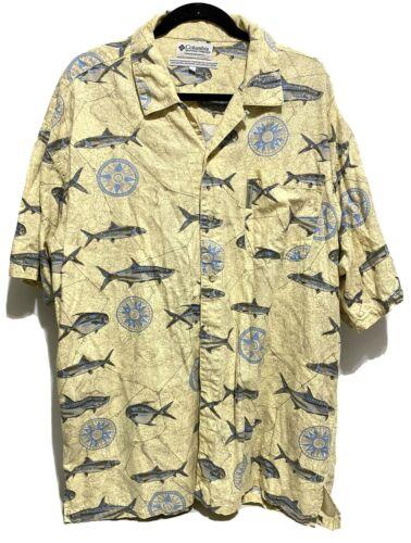 HAWAIIAN Cotton Shirt Large 1980/'s Vintage North River Fishing Fish All Over Print Sportswear Casual Hawaiian Buttondown Blue Shirt Size L