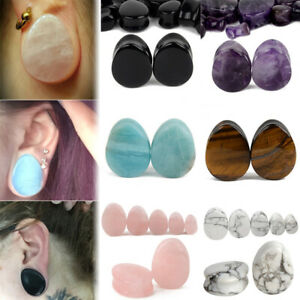 1Pair-Natural-Teardrop-Stone-Ear-Plugs-Gauges-Double-Flared-Flesh-Tunnels