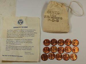 1973-PDS-souvenir-Mint-Visit-Penny-Bag-5P-5D-5S-US-Mint-Cents-15-Coins-Total