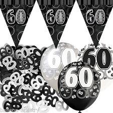 Black Silver Glitz 60th Birthday Flag Banner Party Decoration Pack Kit Set