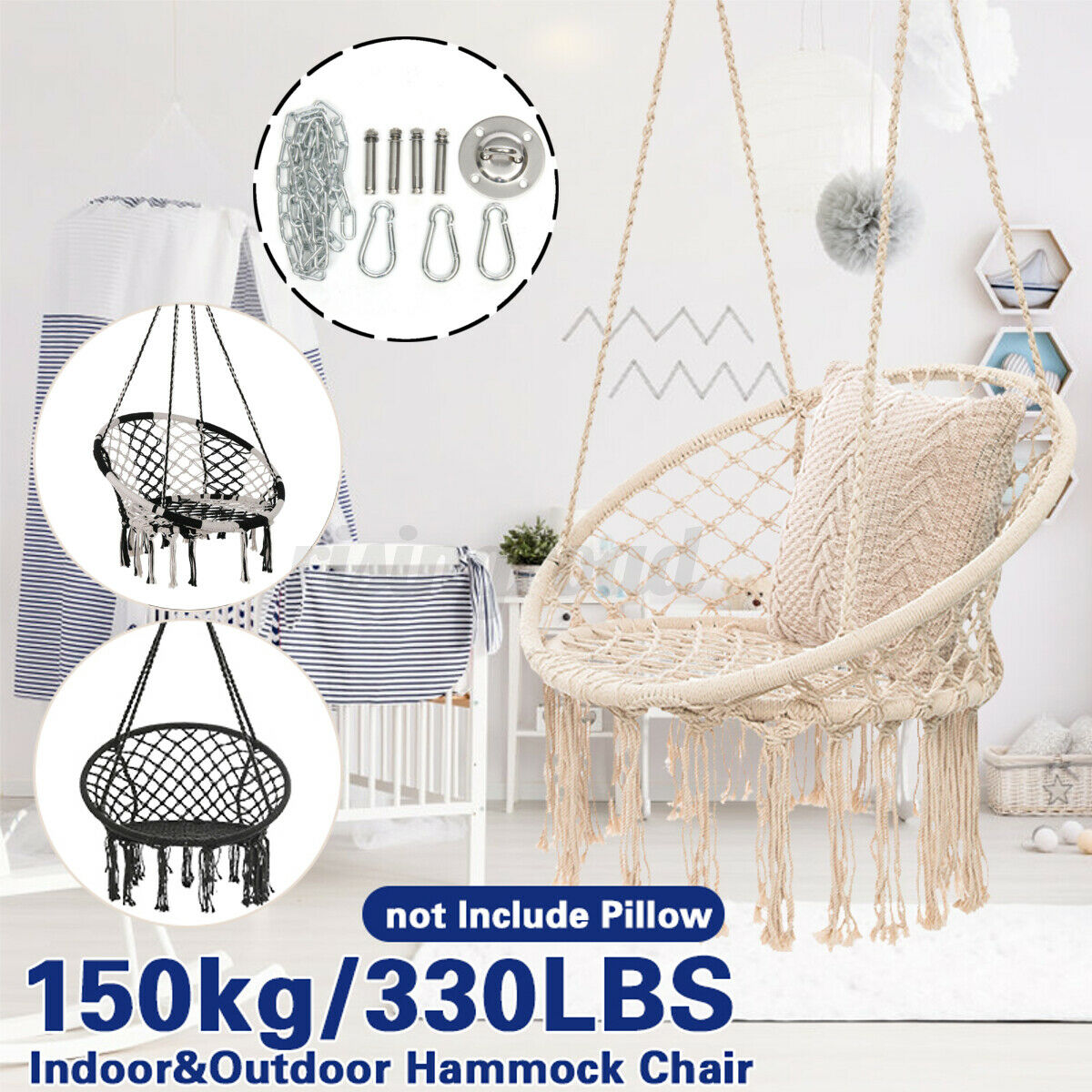 2 Tone Beige Blue Carry Bag Included Indoor Outdoor Use Large Bamboo Bar 330 Lbs Capacity Zupapa Hanging Rope Hammock Chair Swing With Hanging Hardware Kit 360 Swivel Patio Furniture Accessories Patio