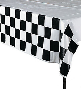 RACING-PARTY-Table-Cover-Chequered-Flag-Design-Tablecover-Tablecloth-Free-Post