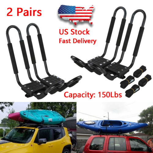 2 Pairs Universal Roof J-Bar Rack Kayak Boat Canoe Car SUV Top Mount Carrier New