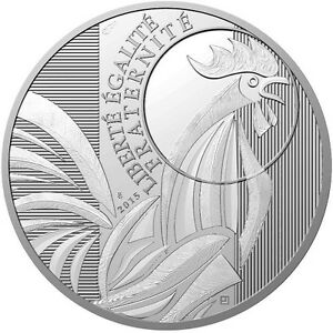 10 Euro Silbermünze Frankreich 2015 - Gallischer Hahn Verbraucher Zuerst