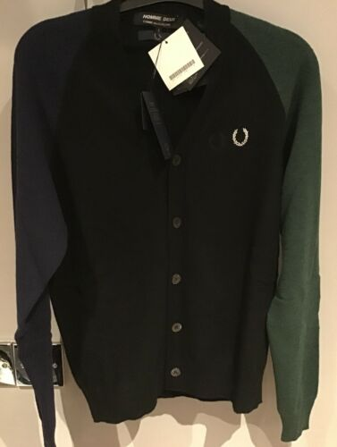 """Small 38"""" Homme Deux Cardigan Black With Different Colour Sleeve Fred Perry"""