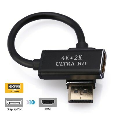 "DisplayPort Adapter Support 4K X 2K /"" 3D Audio//Video Black Active DP To HDMI"