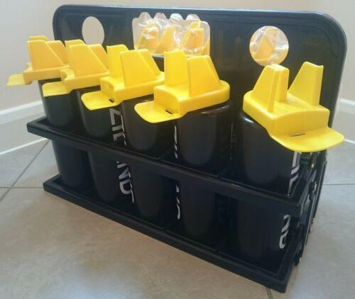 10 BOTTLE BLACK TEAM SPORTS DRINKS WATER CARRIER /& 10 HYBRID BOTTLES,