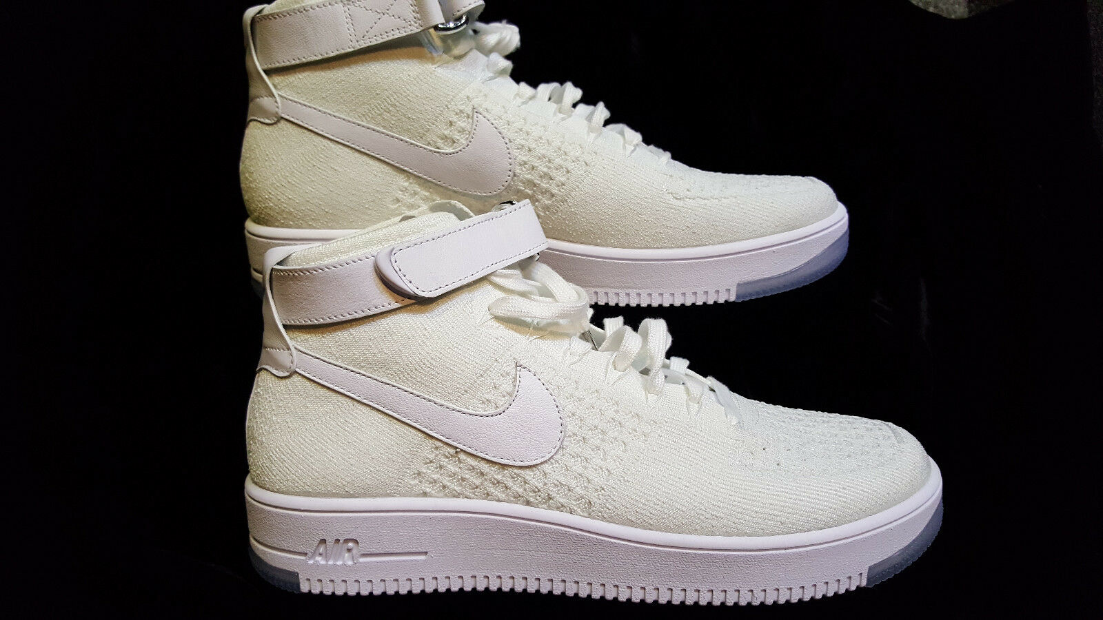 +New! MENS  NIKE AIR FORCE 1 FLYKNIT MID  WHITE  Price reduction Casual wild