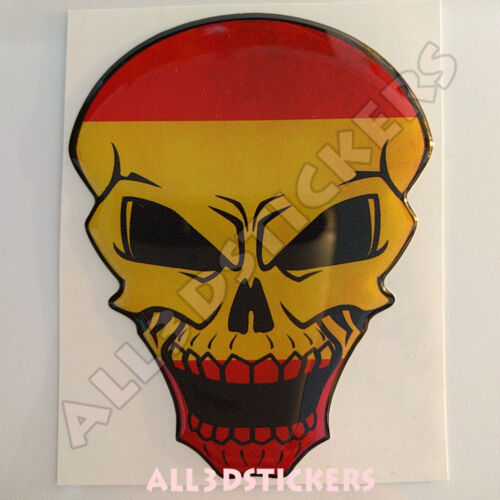 Sticker Flag Spain Skull Adhesive Decal Resin Domed Car Moto Tablet Laptop 3D