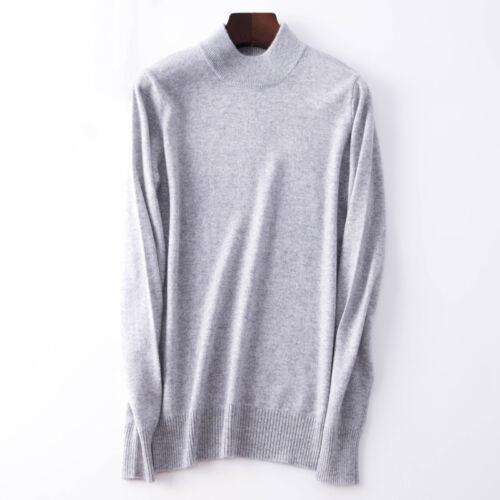 Women/'s Slim Knitted Half-Turtleneck Cashmere wool Jumper Pullover Sweater 2019