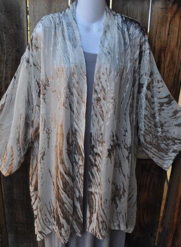 Creme To Kimono Silk Jacket Simply Os Abstrakt Håndmalet Art Wear pTYwEFqw