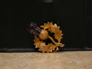 VINTAGE-FINE-JEWELRY-14K-GOLD-AMETHYST-THISTLE-PIN-BROOCH-DROP-PENDANT