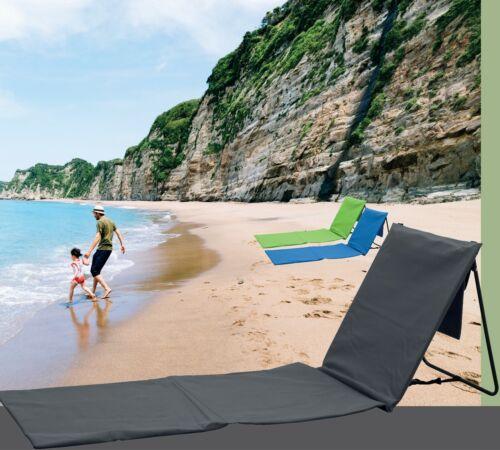 Strandliege Sonnenliege Strandstuhl Rückenlehne 164x 47cm Tasche grün blau grau