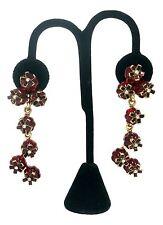 OSCAR DE LA RENTA Designer Red Resin Crystal Floral Drop Earrings NEW
