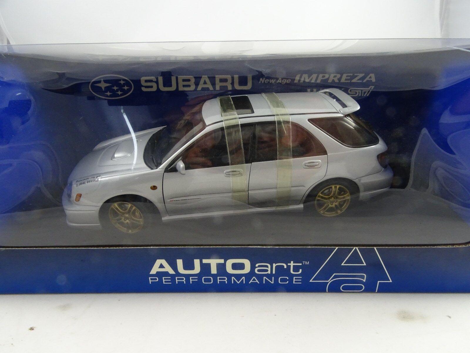 1 18 Autoart Subaru New Age Impreza Wrx Vehículo Sti 2001 Plata - Rareza