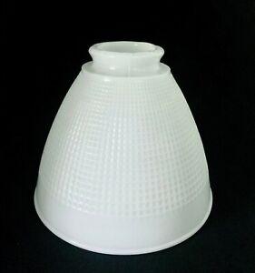 Vintage-Corning-Milk-Glass-Waffle-Pattern-Torchiere-Lamp-Shade-6-034-No-820090