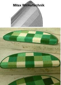 Treppenmatte - Stufenmatte PATCHWORK grün halbrund 65x23 cm NEU