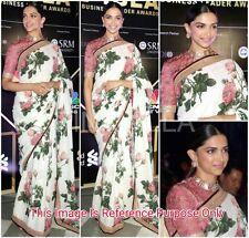 Stunning Indian Designer Bollywood Deepika printed White & pink partywear Saree