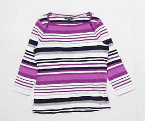 Maine-Womens-Size-12-Striped-Cotton-Purple-T-Shirt-Regular