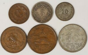 MEXICO-6-Coin-Type-Lot-1907-1944-Silver-Copper-Obsolete-Centavo-Nickel