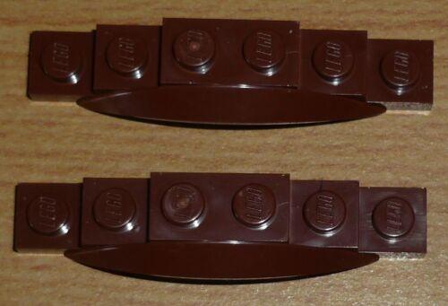 Lego City 2 Kotflügel 2 x 6 x 1 mit kleinem Bogen in neu braun