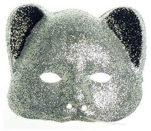 Silver Glitter Cat Mask Masquerade Party Ball Fancy Dress
