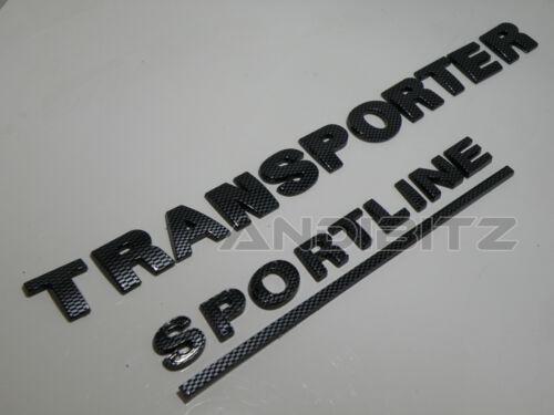 Fibra DI CARBONIO VW Transporter t5 SPORTLINE Caravelle Posteriore Indietro BADGE Camper Van