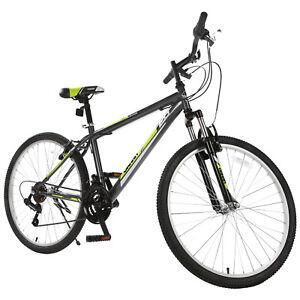 New-26-034-Mountain-Bike-Bicycle-18-Speed-Shimano-Hybrid-Black-Green-School-Sports