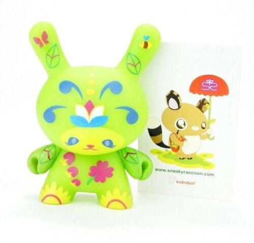 """Kidrobot Dunny 3/"""" Series 5 Sneaky Raccoon Flora Girl Designer Vinyl Art Figure"""