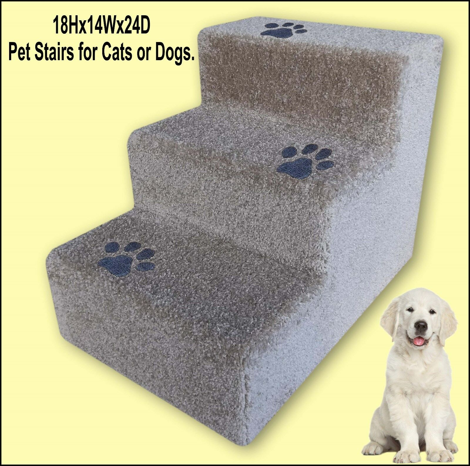 liquidazione fino al 70% Dog steps with inlaid paw prints. , Three steps steps steps for dogs or cats.  memorizzare