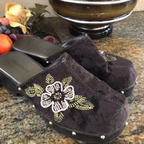 Beaded flower brown clogs mules shoes