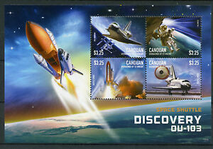 Canouan Grenadines St Vincent 2015 MNH Space Shuttle Discovery OU-103 4v M/S II