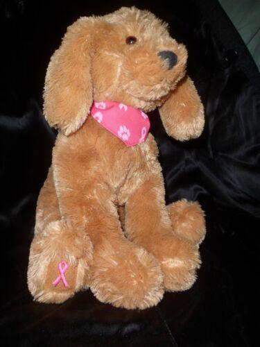 "14"" GUND Macy's PINK RIBBON Breast CANCER Awareness PLUSH Toy Puppy Dog Lt Brown"