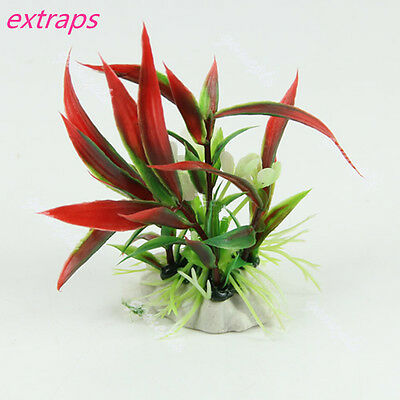 Red Green Plastic Water Plant Grass for Aquarium Fish Tank Landscape Decoration