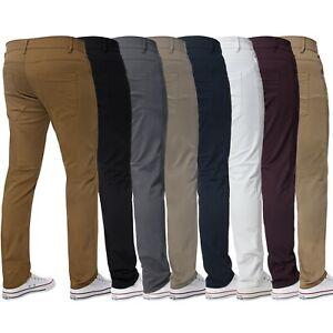 Pantalon Chino Ajustado Para Hombre Pantalones Vaqueros Flacos Tamanos De Cintura Elastica Pantalones Kruze Todos Ebay