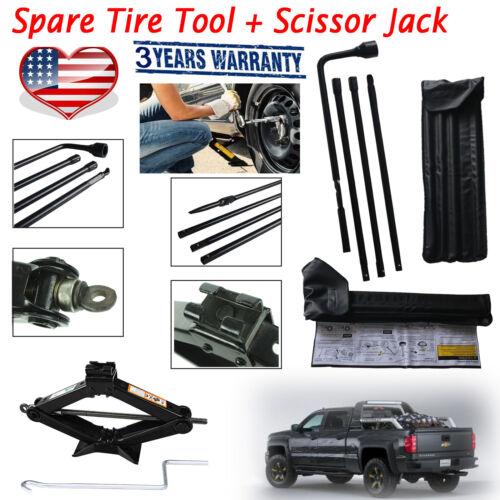 Spare Tire Tool Kit+Scissor Jack 2Ton For Chevrolet GMC Silverado Sierra 01-14