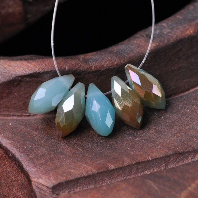 50pcs 12x6mm Teardrop Pendant Crystal Glass Loose Beads Jade L Blue & Orange