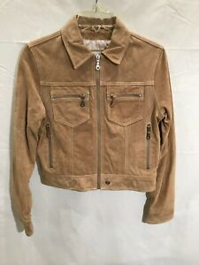 Wilson's Leather Light Brown Suede Jacket Stylish Zipper Detail Women's Sz S