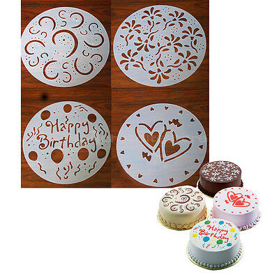 4 x Round Cake Craft Decorating Cutter Flower Heart Sugarcraft Mold Pastry Tool