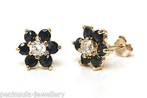 9ct Gold Sapphire cluster stud earrings t0PZqdMk