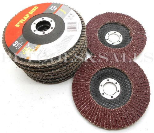 "10x 5/"" x 7//8/"" Arbor ALUMINUM OXIDE Flap Disc 40 GRIT Grinding Wheel Flap Disc"