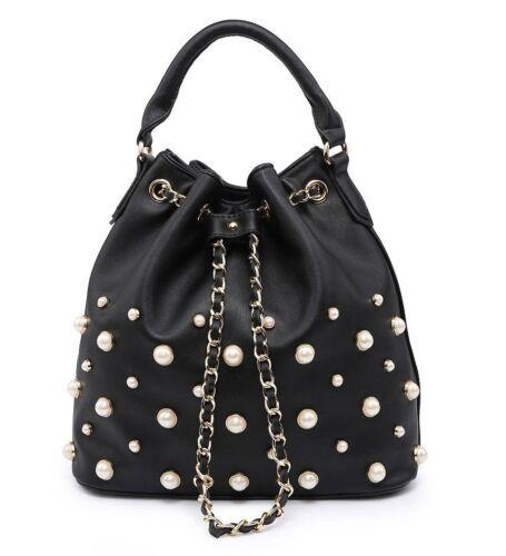 New Ladies Designer Pearl Studded Bucket Shoulder Bag Slouch Handbag Tote Bag UK