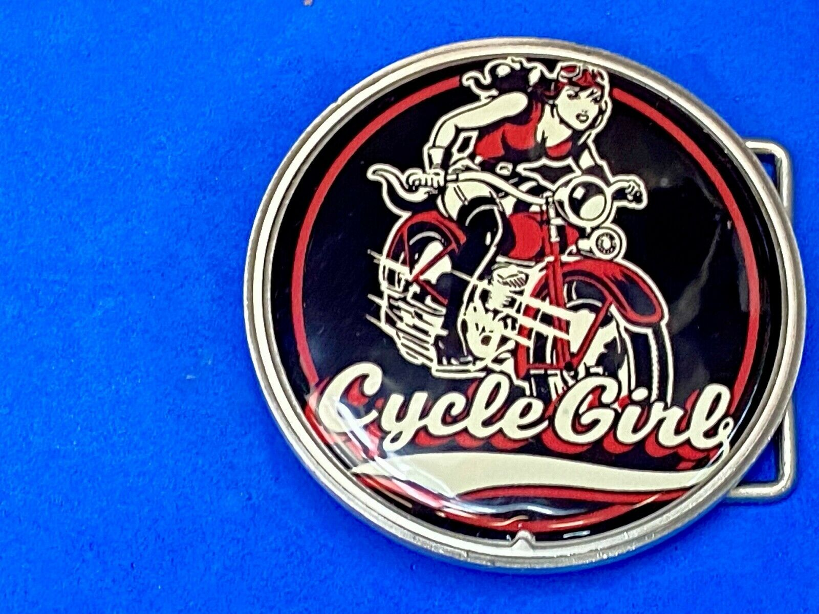 Cycle girls round motor bike bicycle belt buckle by retro a go go